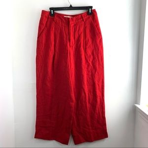 Creatures of Comfort Red High Rise Wide Leg Pants